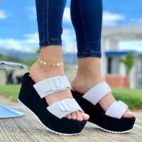 Thick Bottom Foam Sole Fancy Wear Platform Slippers - White