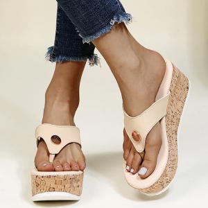 Solid Thick Bottom Women Fashion Platform Flip Flops - Khaki