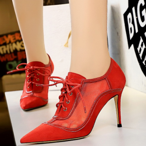 Lace Closure Vintage Style Spike Heels - Red