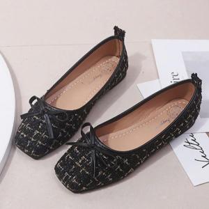 Canvas Fancy Bow Patch Flat Wear Shoes - Black