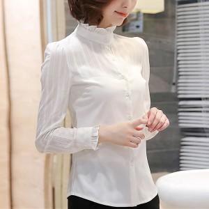 High Ruffled Neck Summer Wear Blouse Top - White