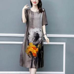 Digital Floral Print Round Neck Midi Dress - Gray