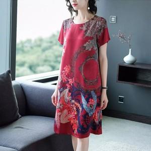 Elegant Digital Printed Round Neck Short Sleeve Comfy Wear Dress