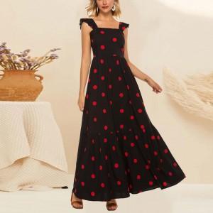 Polka Dot Print Sleeveless Pleated Fashion Bohemian Dress - Black