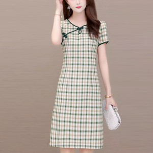 Trendy Plaid A-Line Bowknot Short Sleeves Casual Wear Dress