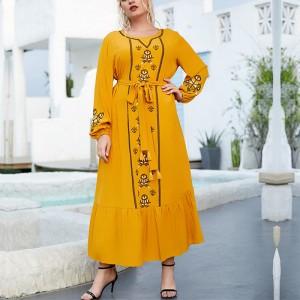 Fashionable Temperament Embroidery Strap Slim Long Dress - Yellow