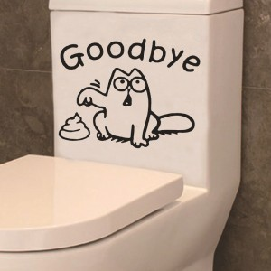 Funny Goodbye Cartoon Toilet Seat Sticker - Black