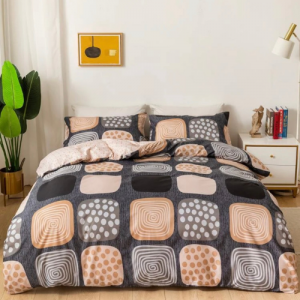 Square Design Without Filler 6 Pieces King Size Bedding Set