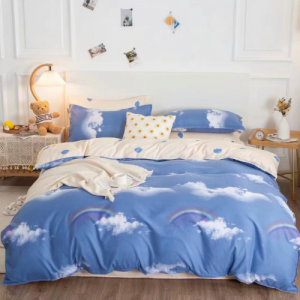 Rainbow Graphic Design Without Filler 4 Pieces Single Size Bedding Set
