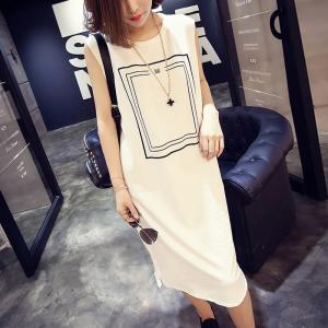 Round Neck Sleeveless Midi Summer Dress - White