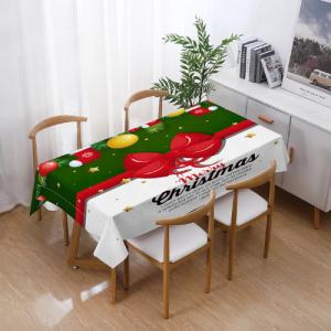 Red Ribbon Christmas Design High Quality Christmas Table Linen Cloth
