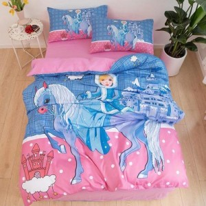 Pony Design Without Filler 4 Pieces Single Size Bedding Set