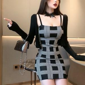 Geometric Print Women Fashion Mini Dress - Black