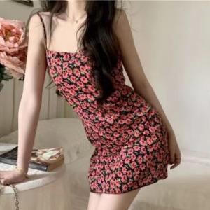 Floral Print Women Fashion Mini Dress - Red