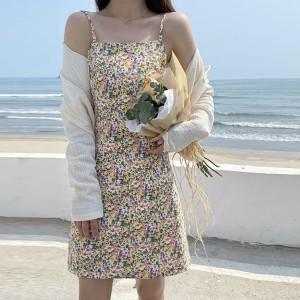 Floral Print Women Fashion Mini Dress - Yellow