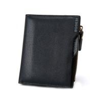 Zipper Cosure Premium PU Leather Money Wallet - Dark Blue