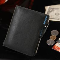 Zipper Cosure Premium PU Leather Money Wallet - Black