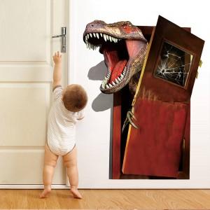 3D Broken Wall Dinosaur Children Bedroom Background Wall Sticker