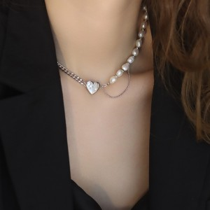 Love Necklace Pearl Patchwork Clavicle Heart Chain - Silver