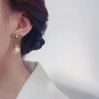 Women Fashion Bow Pearl Stud Earrings - Black Gold
