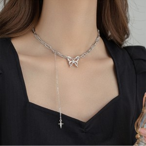 Women Fashion Butterfly Choker Clavicle Chain - Sliver
