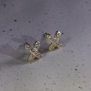 Diamond Studded Cross Earrings - Golden