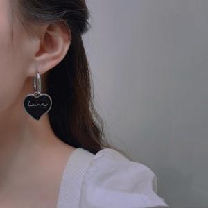 Simple Letters Love Heart Hoop Earrings - Black