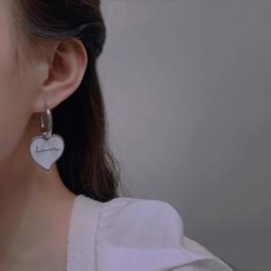Simple Letters Love Heart Hoop Earrings - White