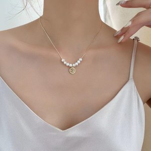 Fashion Temperament Clavicle Chain Pearl Necklace - Golden