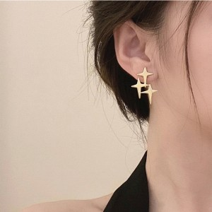Fashion Sparkly Star Stud Earrings - Golden