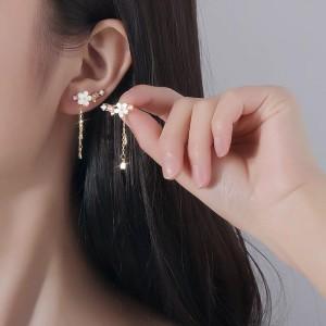 Floral Design Long Tassel Girls Earrings - Golden
