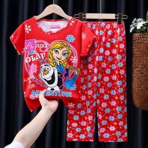 Half Sleeve Cotton Fabric Children Pajama Suit