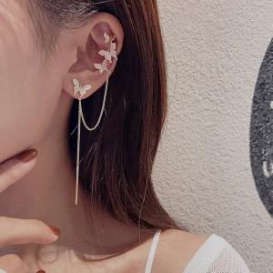 Small Butterfly Asymmetrical Tassel Earrings - Golden