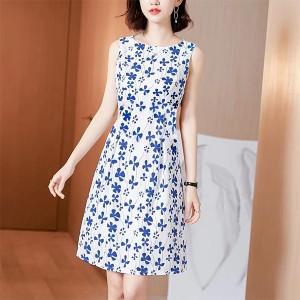 Summer Wear Round Neck Sleeveless Mini Dress