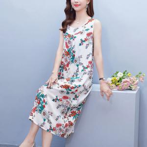 Round Neck Summer Wear Sleeveless Mini Dress