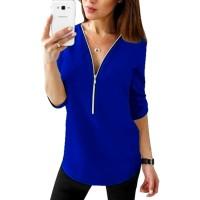 Zipper Closure Women Fashion Summer Blouse Top - Dark Blue