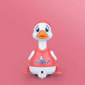 Cute Running Duck Playable Toy For Children - Pink
