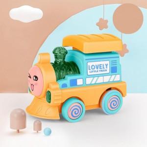 Mini Train Contrast Kids Playable Toy - Yellow Blue