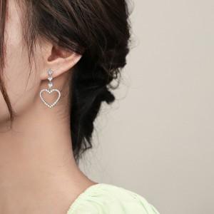 Diamond Pierced Girls Love Earrings - Silver