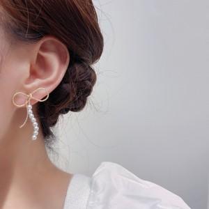 High Quality Elegant Bow Pearl Earrings - White Golden