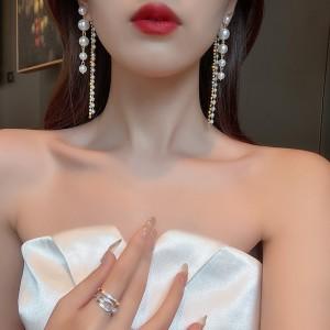 High Quality Pearl Tassel Earrings - Golden White