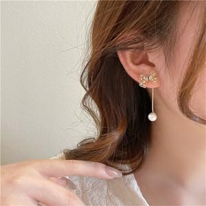 Pearl Bow Tassel Girls Earrings - Golden