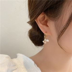 Rhinestone Pearl Small Heart Women Earrings - Golden