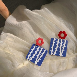 Painting Flower Acrylic Colors Women Earrings - Blue