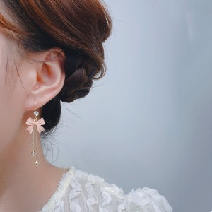 Rhinestone Bow Tassel Earrings - Pink