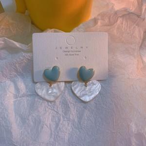 Heart Acrylic Contrast Color Earrings - Light Blue