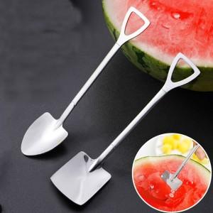 2 Pcs Creative Cute Spoon Stainless Steel Household Food Watermelon