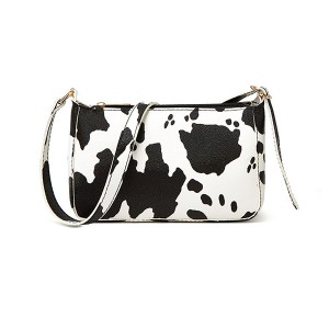 Animal Print Zipper Closure Casual Messenger Bags - Black and White