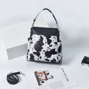 Contrast Print Synthetic Leather Messenger Bags - Black