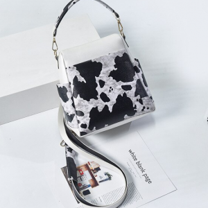 Contrast Print Synthetic Leather Messenger Bags - White